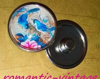 Nice decoration of blue birds, flowers, silver, cabochon 20mm snap button