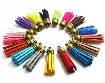 4 pendants suede and bronze mix color 38mm tips