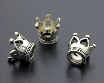 5 charms, charm crowns silver antique deco hearts 13 * 11mm