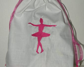 Dancer machine embroidery white slippers bag