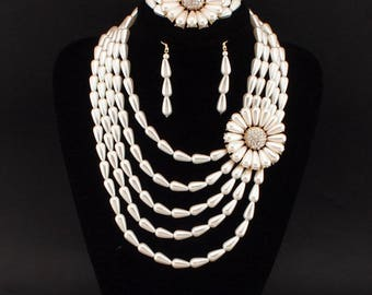 African Charm Multilayers imitation Pearl Flower Statement Necklace Bracelet Earrings Sets Wedding Jewelry Sets Bride