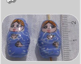 2 Russian dolls beads MATRYOSHKA BABUSHKA ceramic blue 20 mm * P46