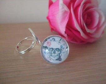 """Ring cabochon """"skull with rose"""""""