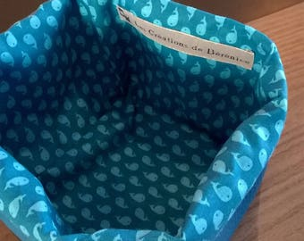 Blue faux basket and whales pattern cotton