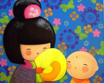 "KOKESHI & JIZO - acrylic painting on canvas: ""Takara and jizo, pop series"""