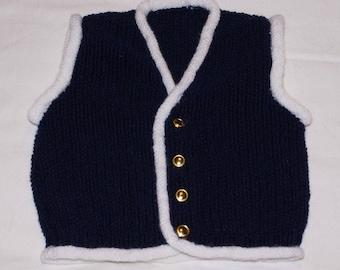 Navy vest Navy Blue and white
