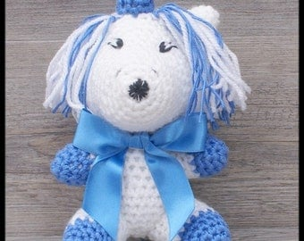 Unicorn blue and white crochet blanket