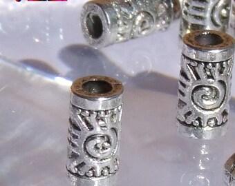 20 pearls Intercalaires shape Tube Metal color silver antique Sun motif Maya 6.5 mm x 3.5 mm