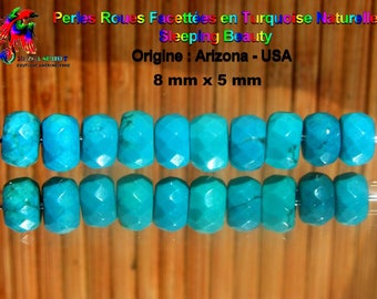3 beads wheels faceted 8 mm x 5 mm Turquoise Sleeping Beauty - Arizona - Grade A