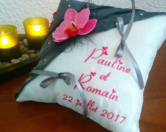 wedding ring pillow custom embroidered Orchid fuchsia gray pillow
