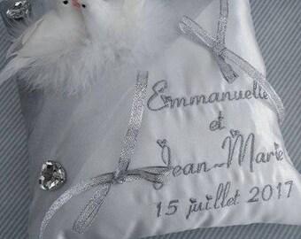 Wedding Doves Heart Rhinestone silver wedding ring cushion