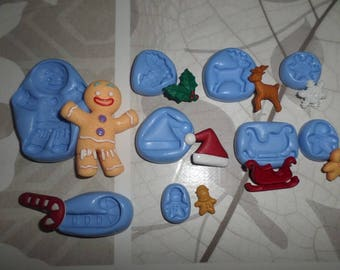 """New special limited offer! Set of 9 molds for your polymer clay creations """"Christmas"""""""