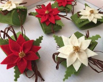 6 napkin ring made of felt, decoration Christmas table decoration, poinsettia