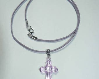 Cotton waxed purple necklace with cross purple transparent acrylic