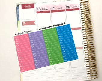 Hourly Full Boxes (Bright Colors) for the Erin Condren Life Planner, Happy Planner and More!
