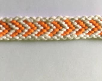 Orange and white Friendship Bracelet with border