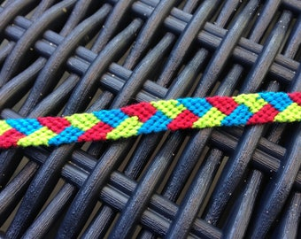Friendship Bracelet braided red, green and turquoise