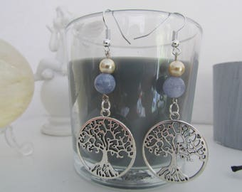 Aqua MARINE tree of life earrings
