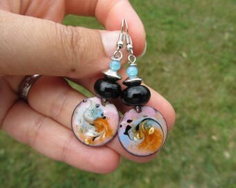 Earrings ethnic copper sequin enamelled, handcrafted, pink, blue, orange, black glass bead