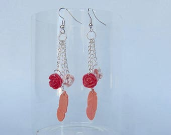 Pink and silver feather earrings