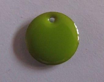 3 anise green sequin pendants 12 mm in diameter