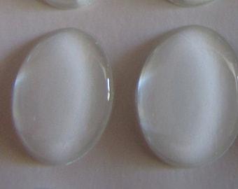 set of 2 oval transparent epoxy resin cabochons