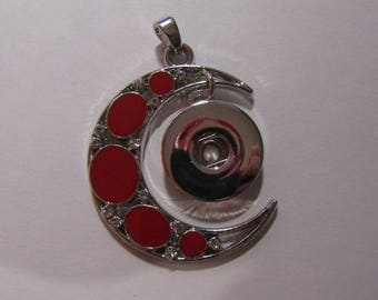 silver and red moon pendant with snap support 18mm / 20mm