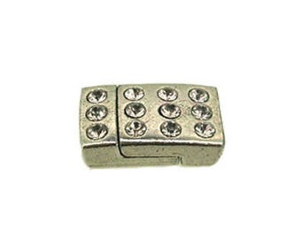 Clasp for leather 5 mm magnetic rectangular rhinestone decoration