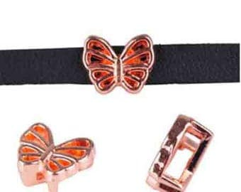 10 spends leather leather Butterfly metal 5 mm rose gold