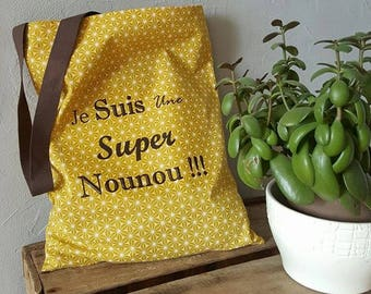 """bag tote bag gift nanny """"Super nanny"""" mustard yellow"""