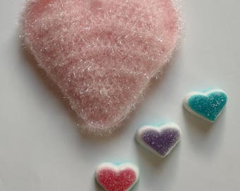 FUNNY crocheted sponge (special fiber Terry) pink heart charm