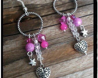 Pink earrings silver tone ring and beads