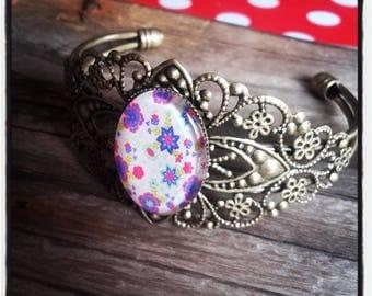 liberty glass cabochon and bronze metal Bangle Bracelet