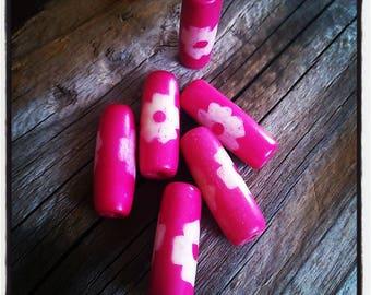 set of 6 long beads pink flower
