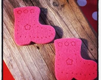 set of 2 hot pink felt boots