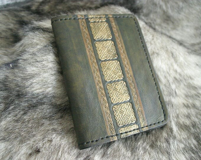 Travel wallet Passport leather embossed Celtic Green Khaki