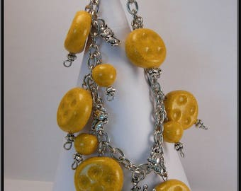Cheese Fimo Bead Bracelet