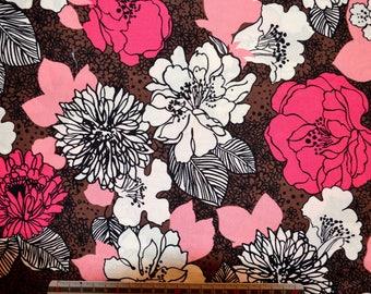 """FLORAL"" pattern - black/Fuchsia/white cotton fabric"
