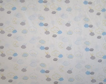 """COTTON pattern """"Clouds and Moon"""" yellow, blue and gray"""