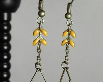 bronze earrings ears yellow diamond