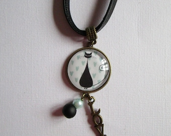 """""""Le Chat"""" bronze cabochon necklace, costume jewelry"""