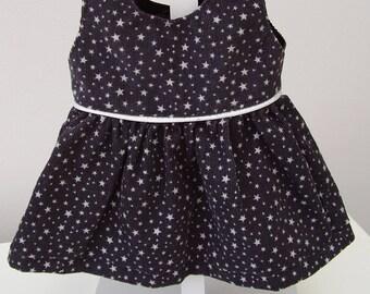 36 cm doll clothes : Velvet dress grey with white stars