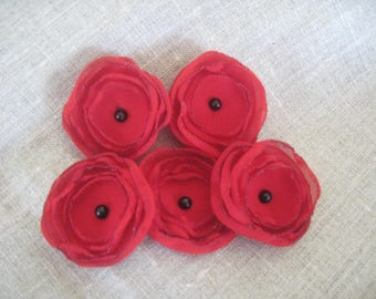Set of 5 flowers in red and Black Pearl 5cm