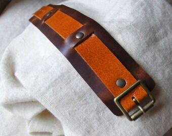 Rusty Brown Leather Buckle bracelet