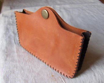 Hand-stitched orange leather laptop case - Brown