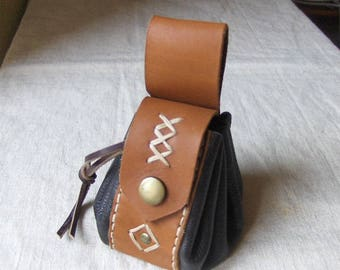 Leather purse Brown hand made medieval type