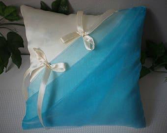 Turquoise ivory ring bearer pillow