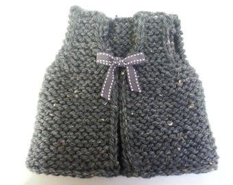 Vest of gray donkey 0-1 month - 30% wool