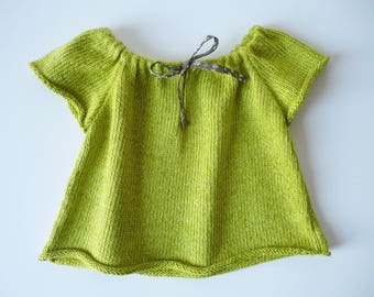 RIBBON GIRL 12 MONTHS LIME GREEN BLOUSE. COTTON AND LINEN