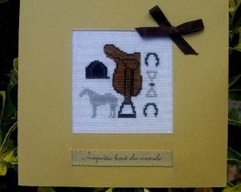 Hand embroidered card: saddle and riding equipment